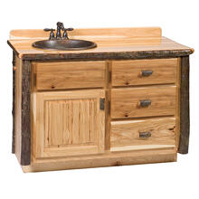 Vanity with Top - 42-inch - Cinnamon - Sink Right - Liquid Glass