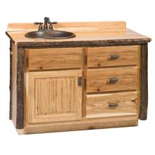 Vanity with Top - 48-inch - Natural Hickory - Sink Center - Liquid Glass