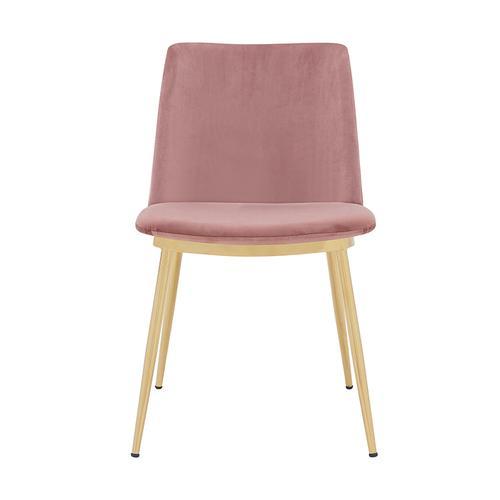 Armen Living - Messina Modern Pink Velvet and Gold Metal Leg Dining Room Chairs - Set of 2