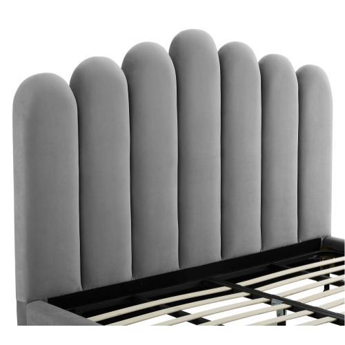Celine Grey Velvet Bed in King by Inspire Me! Home Decor