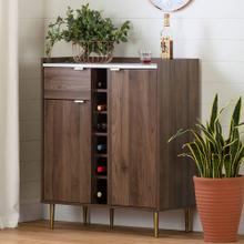 Buffet with Wine Storage - Natural Walnut and Faux Carrara Marble