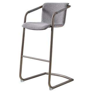 Indy Fabric Bar Stool Silver Frame, Sage Gray/Velvet Gray