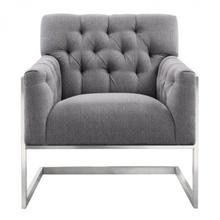 Armen Living Emily Contemporary Accent Chair in Brushed Stainless Steel with Grey Fabric