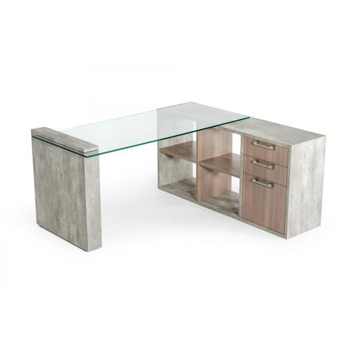 Nova Domus Boston Modern Glass & Faux Concrete Desk