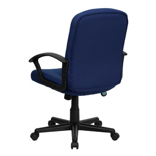 Gallery - Mid-Back Navy Fabric Executive Swivel Office Chair with Nylon Arms