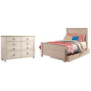Full Panel Bed With 1 Storage Drawer With Dresser