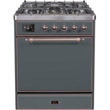 See Details - Majestic II 30 Inch Dual Fuel Natural Gas Freestanding Range in Blue Grey with Bronze Trim