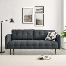 Cameron Tufted Fabric Sofa in Charcoal