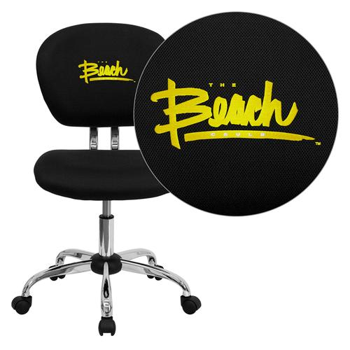 California State University - Long Beach 49ers Embroidered Black Mesh Task Chair with Chrome Base