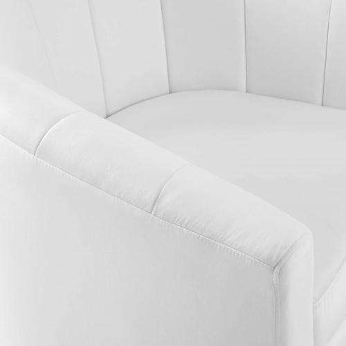 Prospect Performance Velvet Swivel Armchair in White