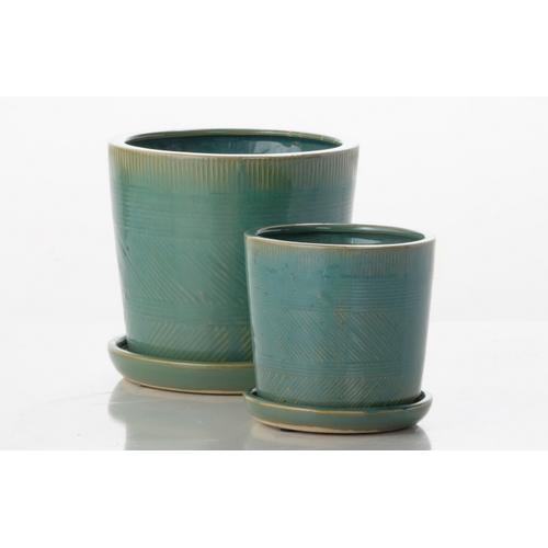 Alfresco Home - Mud Cloth Petits Pots w/ attached saucer - Sage (Set of 2)