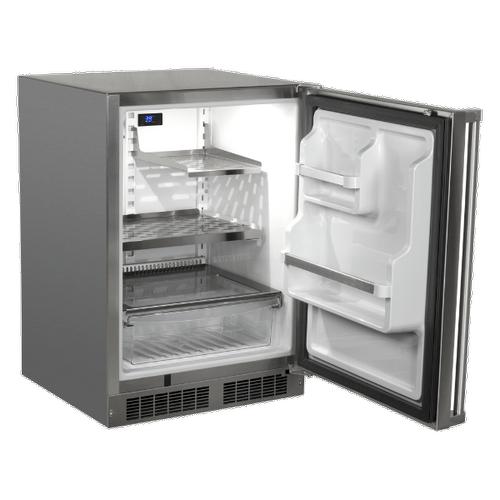 Marvel - 24-In Outdoor Built-In Refrigerator With Door Storage And Maxstore Bin with Door Style - Stainless Steel, Door Swing - Right