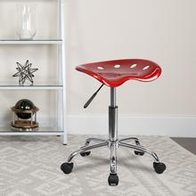 View Product - Vibrant Wine Red Tractor Seat and Chrome Stool