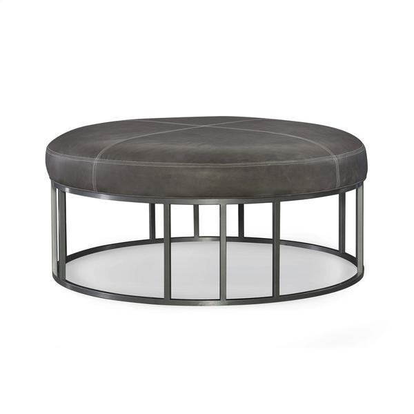 Metal Base Leather Round Ottoman