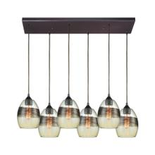 Whisp 6-Light Rectangular Pendant Fixture in Oil Rubbed Bronze with Champagne-plated Glass