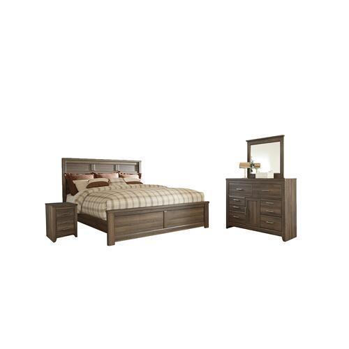 Product Image - King Panel Bed With Mirrored Dresser and 2 Nightstands