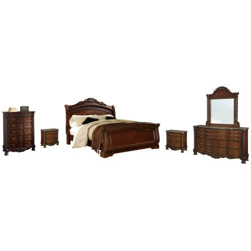California King Sleigh Bed With Mirrored Dresser, Chest and 2 Nightstands