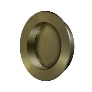 """Flush Pull , Round, HD, 2-3/8"""", Solid Brass - Antique Brass"""
