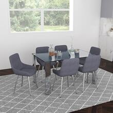 Frankfurt/Cassidy 7pc Dining Set, Chrome/Grey