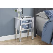 """See Details - ACCENT TABLE - 25""""H / MIRROR / SILVER WITH STORAGE"""