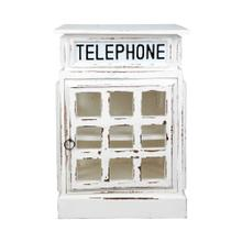 English Phone Booth End Table - Distressed White
