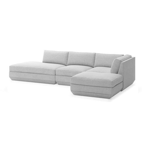 Podium 4PC Lounge Sectional B New Bayview Silver / Right Facing