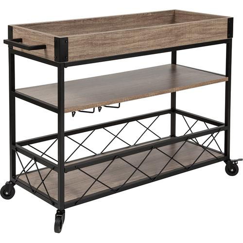 Flash Furniture - Buckhead Distressed Light Oak Wood and Iron Kitchen Serving and Bar Cart with Wine Glass Holders