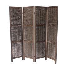 7046 DARK BROWN Rustic Woven 4-Panel Room Divider
