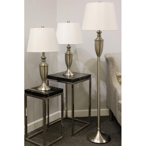 QB-Set of 3 brush steel lamps 2 table and 1 floor