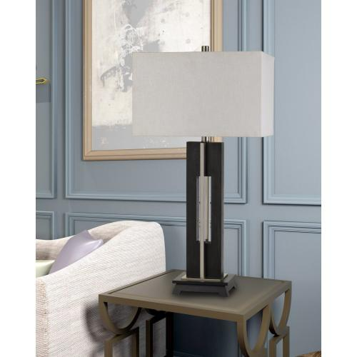 Glenview Metal/Wood Table Lamp With Rectangular Fabric Shade
