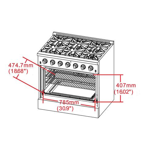 "36"" Gas Range FORNO ALTA QUALITA Pro-Style Gas 6 DEFENDI Italian Burners 83,000 BTU All 304 Stainless Steel FFSGS6239-36"