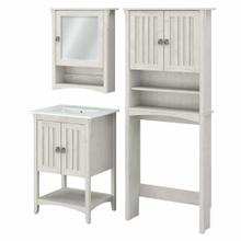 See Details - 24W Bathroom Vanity Sink with Mirror and Over Toilet Storage Cabinet, Linen White Oak