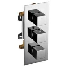 AB2801 Brushed Nickel Concealed 3-Way Thermostatic Valve Shower Mixer Square Knobs
