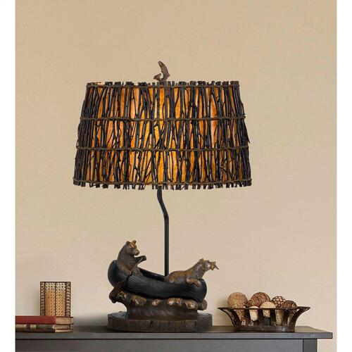 150W 3 Way Bear in Canoe Resin Table Lamp