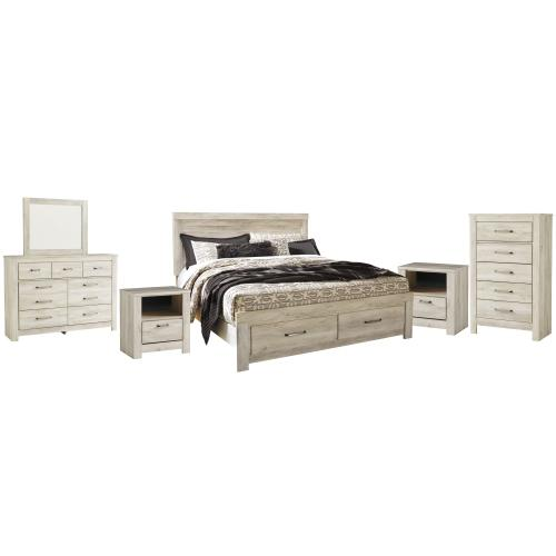 King Platform Bed With 2 Storage Drawers With Mirrored Dresser, Chest and 2 Nightstands