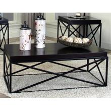 View Product - Errica Black Metal and Espresso Wood Coffee Table