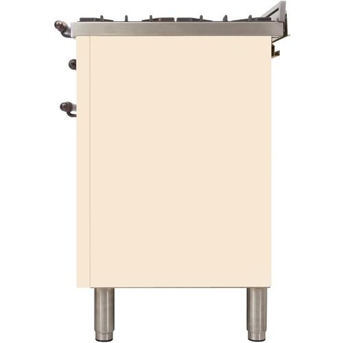 Nostalgie 48 Inch Dual Fuel Natural Gas Freestanding Range in Antique White with Bronze Trim
