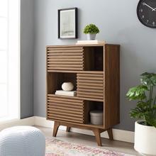 See Details - Render Three-Tier Display Storage Cabinet Stand in Walnut