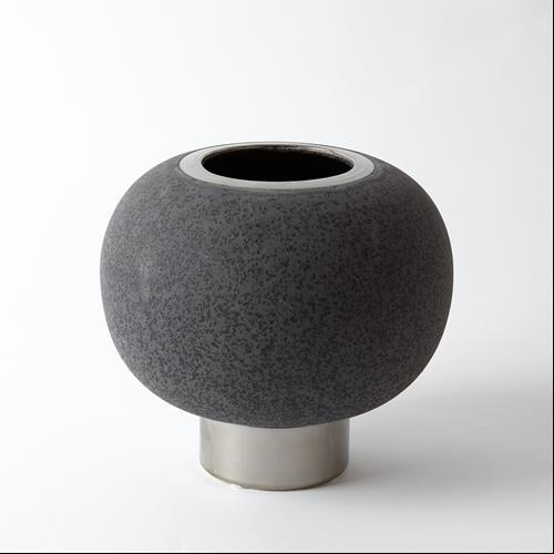 Silver Banded Sphere Vase-Black-Sm