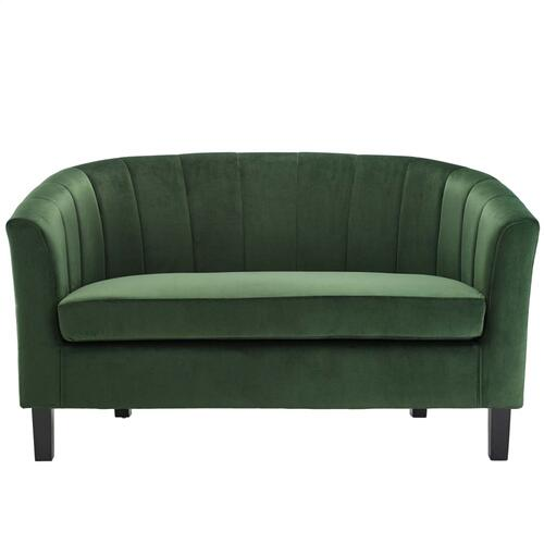 Prospect Channel Tufted Performance Velvet Loveseat in Emerald
