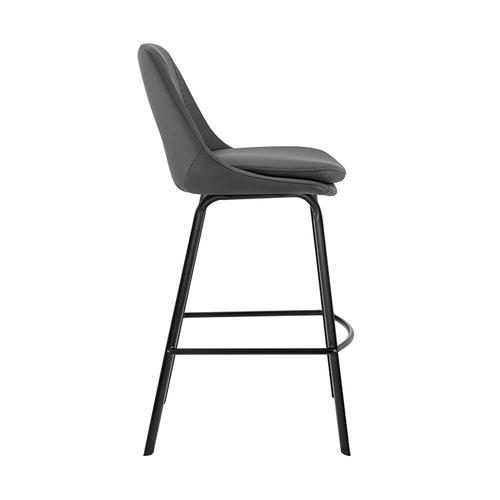 """Armen Living - Carise Grey Faux Leather and Black Metal Swivel 30"""" Bar Stool"""