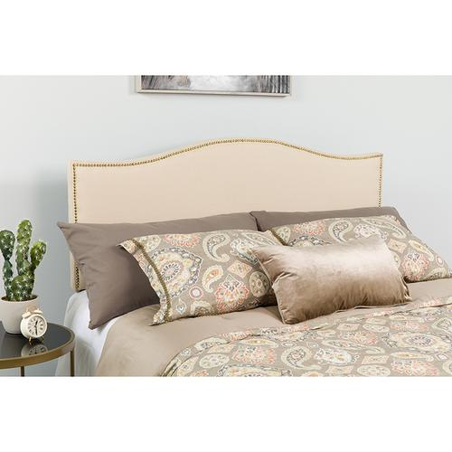 Lexington Upholstered Queen Size Headboard with Accent Nail Trim in Beige Fabric