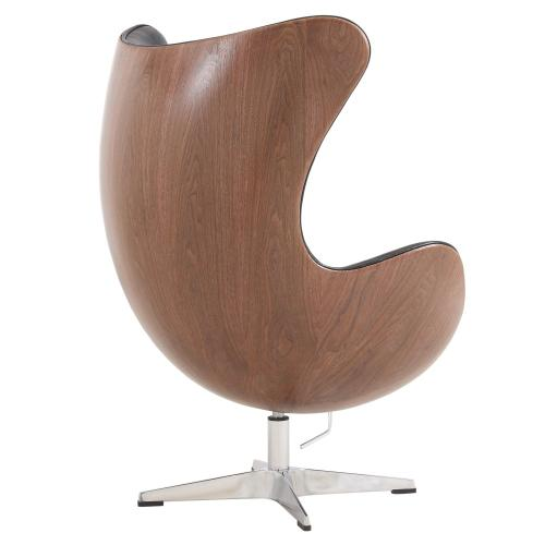Axis PU Swivel Rocker Chair Dark Walnut Frame, Dakota Black