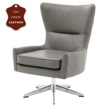Arya KD Top Grain Leather Swivel Accent Chair, Garrett Gray