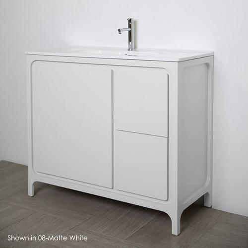Free standing under counter vanity with routed finger pulls on two drawers and one door. Bathroom Sink sold separately.Multi-finish combinations are custom.