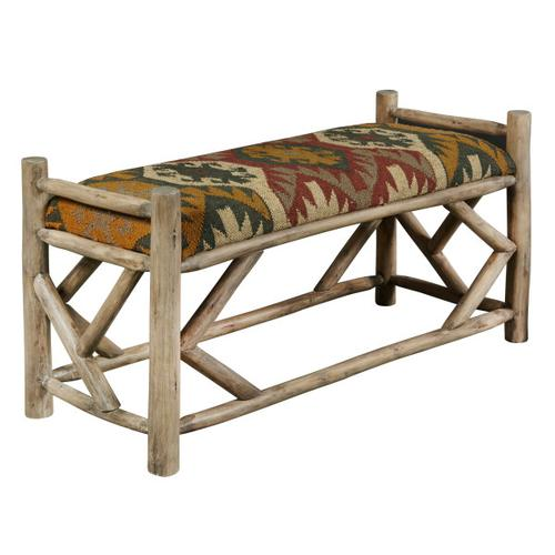 Rustic Upholstered Wood Bench in Southwest Ganado Pattern