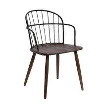 Bradley Steel Framed Side Chair in Black Powder Coated Finish and Walnut Glazed Wood