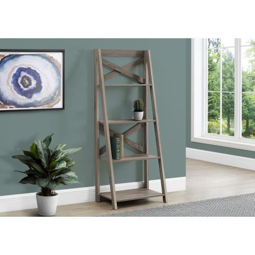 """BOOKCASE - 60""""H / DARK TAUPE LADDER WITH 4 SHELVES"""