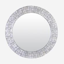 "Cameron 35"" Round Capiz Mirror - Silver"