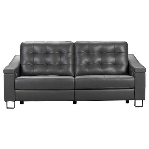 Parker Tufted Leather Power Reclining Sofa in Storm Gray